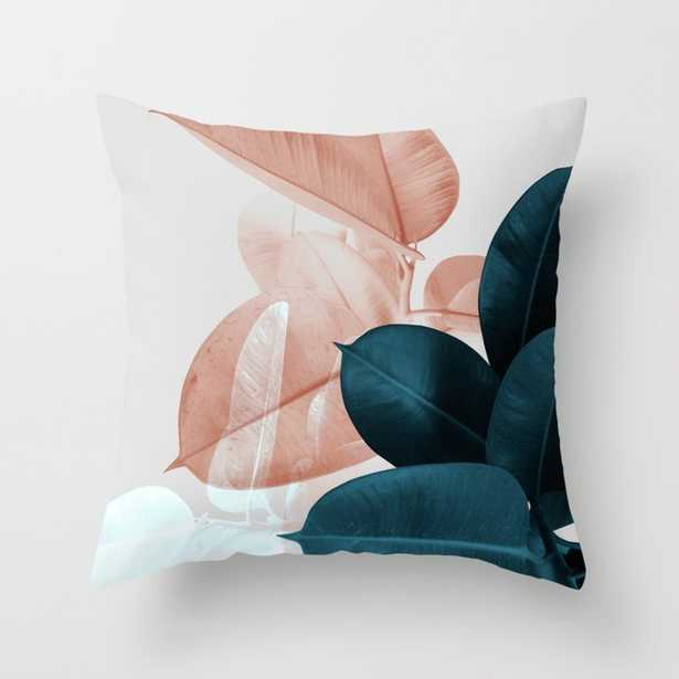"""Blush & Blue Leaves Throw Pillow - Outdoor Cover (18"""" x 18"""") with pillow insert by Printsproject - Society6"""