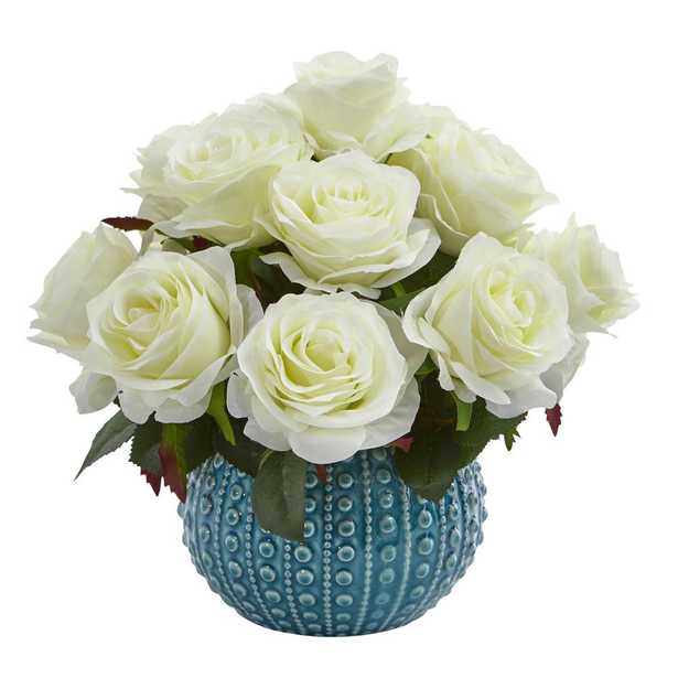 11.5 in. High White Roses Artificial Arrangement in Blue Ceramic Vase - Home Depot