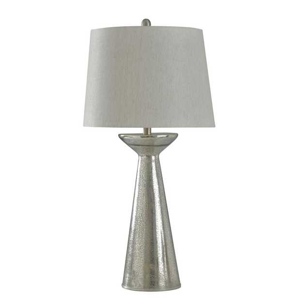 StyleCraft 34 in. Mercury Glass Table Lamp with Oatmeal Hardback Fabric Shade - Home Depot
