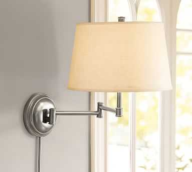 Chelsea Swing-Arm Sconce, Nickel Base & Small Tapered Gallery shade, White - Pottery Barn