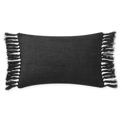 """Knotted Fringe Linen Lumbar Pillow Cover, 14"""" X 22"""", Black - Williams Sonoma"""