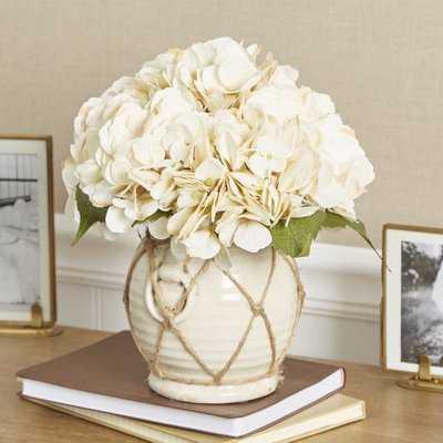 Faux Hydrangea Floral Arrangement in Twine-Wrapped Vase - Birch Lane