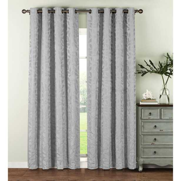 Window Elements Semi-Opaque Alpine Textured Woven Leaf Jacquard 96 in. L Grommet Curtain Panel Pair, Silver (Set of 2) - Home Depot