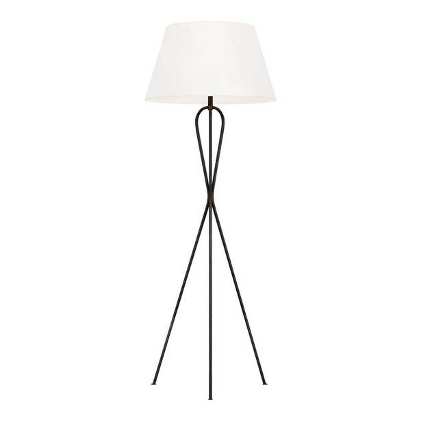 Visual Comfort Group Francis 56.125 in. Aged Iron Floor Lamp White Linen Shade - Home Depot