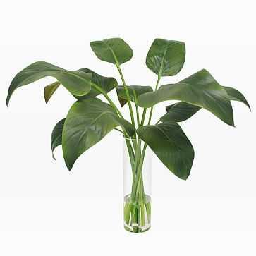 Faux Calla Leaf in Slim Round Vase, Green - West Elm