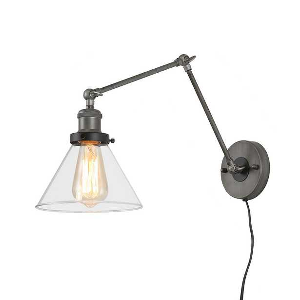 LNC 1-Light Grey Plug-In Wall Lamps Adjustable Clear Glass Wall Sconce - Home Depot