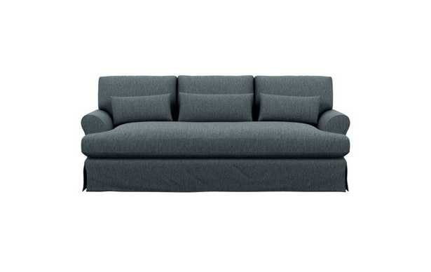 Maxwell Slipcovered Sofa with Blue Rain Fabric and Oiled Walnut with Brass Cap legs - Interior Define
