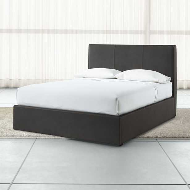 Flange Queen Upholstered Headboard with Gas-Lift Base Grey Faux Leather - Crate and Barrel