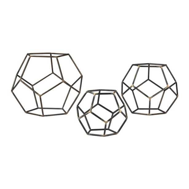 10 in. x 8 in. x 6 in. Gray Iron with Gold Highlight Decorative Geometric Orbs (Set of 3), Gold Highlight/Grey Iron - Home Depot
