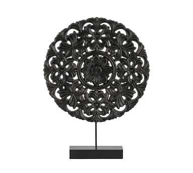 Round Floral Wooden Wheel On Stand, Small, Black - Pottery Barn