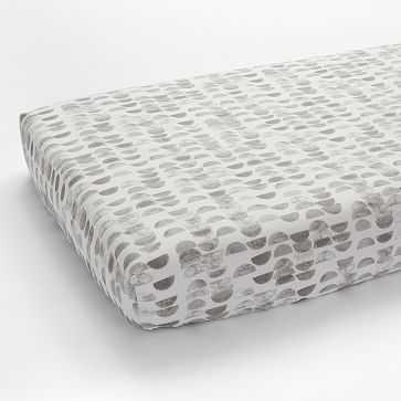 Organic Half Moon Fitted Crib Sheet, Platinum - West Elm