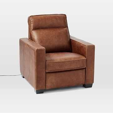 Henry(R) Leather Power Recliner Chair - Tobacco - West Elm