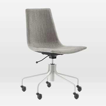 Slope Swivel Office Chair, Basketslub, French Blue - West Elm