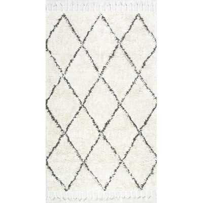 Twinar Hand-Knotted Wool Off White/Dark Grey Area Rug 6' x 9' - Wayfair