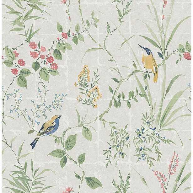 Imperial Grey Garden Chinoiserie Wallpaper - Home Depot