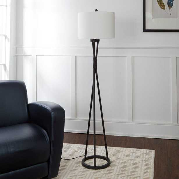 Silverwood Avri Twisted Metal 61.75 Black Floor Lamp with Shade - Home Depot