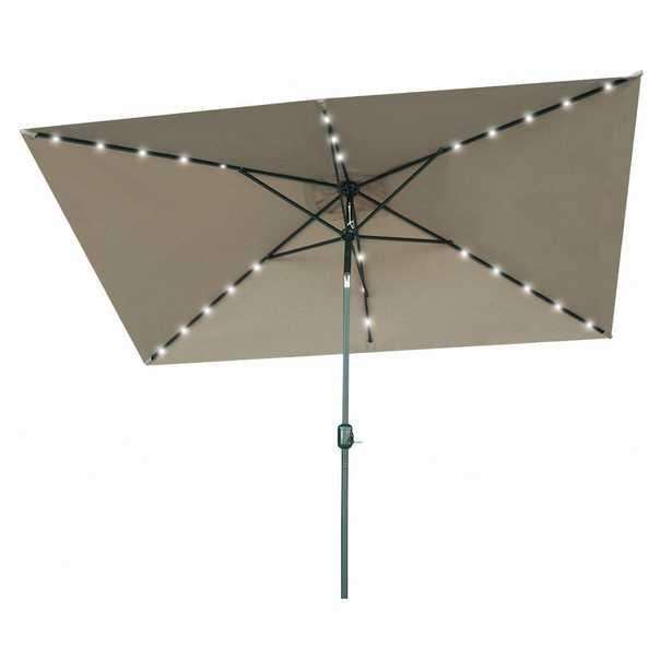 Trademark Innovations 10 ft. x 6.5 ft. Rectangular Market Solar Powered LED Lighted Patio Umbrella in Tan - Home Depot