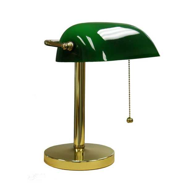 ORE International 12.5 in. Gold/Green Bankers Lamp - Home Depot