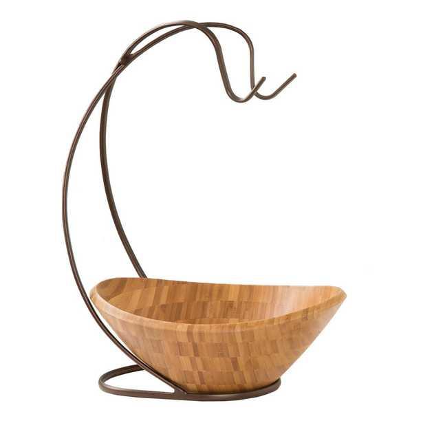Bamboo Fruit Bowl with Banana Hook - Home Depot