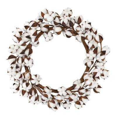 """Faux Cotton Stem 20"""" Wreath - Birch Lane"""