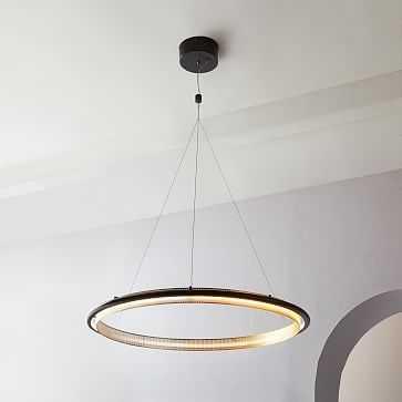 LED Hoop Chandelier, Antique Brass - West Elm