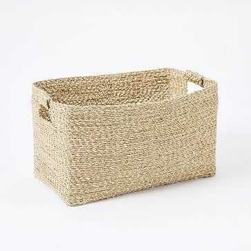 Metallic Woven Storage Basket, Gold, Console - West Elm