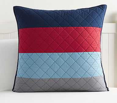 Block Stripe Euro Quilted Sham, Navy/Red - Pottery Barn Kids