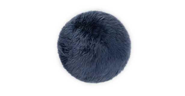 Lanna Navy Round Sheepskin Pillow - Article