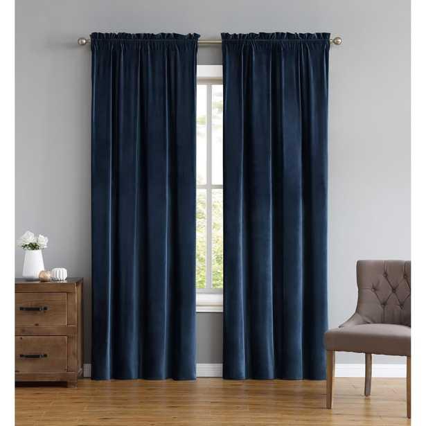 Truly Soft Everyday Pleated Velvet Drape Sets Navy (Blue) Drape Set of 2 - Home Depot