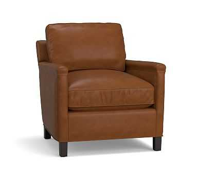 Tyler Square Arm Leather Armchair with Bronze Nailheads, Down Blend Wrapped Cushions, Statesville Toffee - Pottery Barn