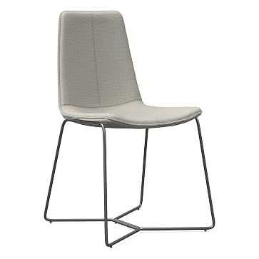 Slope Dining Chair, Charcoal Leg, Basket Slub, Feather Gray, Charcoal - West Elm