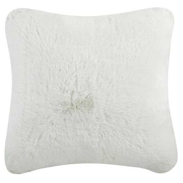 Faux Chinchilla Plush Fur Pillow, Snow White - Home Depot