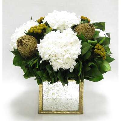 Mixed Floral Centerpiece in Wooden Square Small Container - Birch Lane