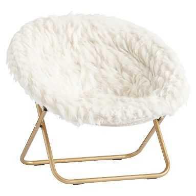Hang-A-Round Chair, Winter Fox Faux-Fur w/ Gold Base - Pottery Barn Teen
