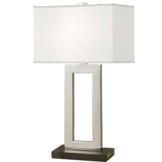 E Ko Image Geometric 29 in. Contemporary Chrome and Black Contrast Table Lamp with Rectangular Hardback Shade - Home Depot