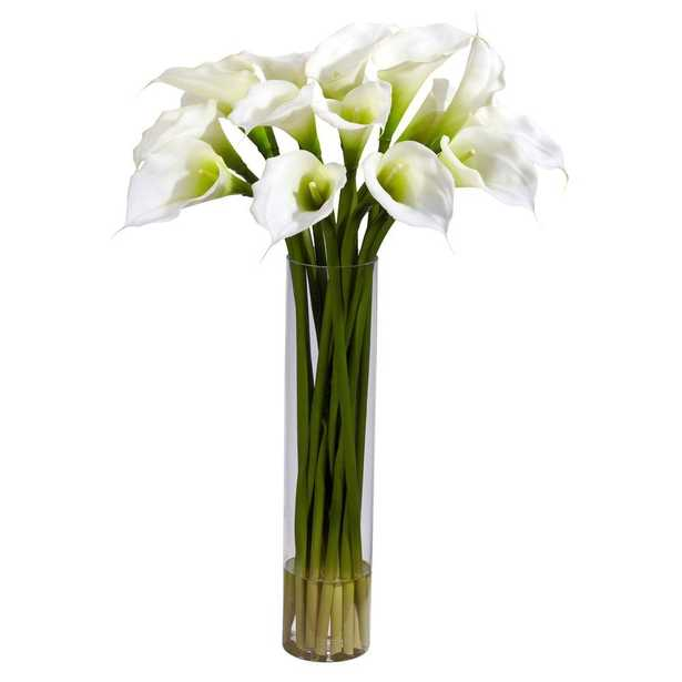 Nearly Natural 27 in. H Cream Calla Lilly with Cylinder Silk Flower Arrangement - Home Depot
