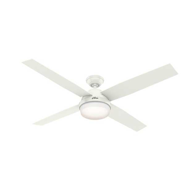 Hunter Dempsey 60 in. LED Indoor Fresh White Ceiling Fan with Universal Handheld Remote Control and Light Kit - Home Depot