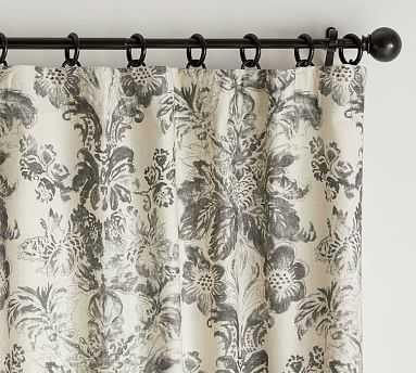 "Thea Print Curtain, Gray Multi, 108 x 50"" - Pottery Barn"