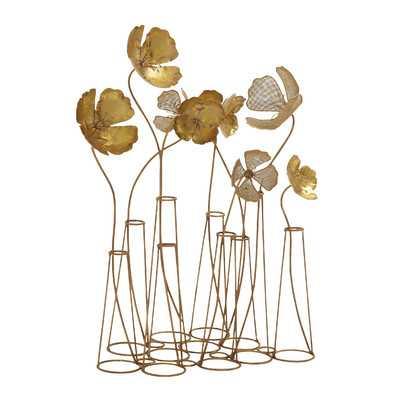 Foy Gold Metal Flower Sculpture - Wayfair