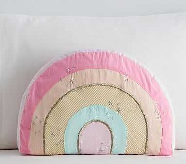 Retro Rainbow Shaped Pillow, 11x16 Inches, Pink Multi - Pottery Barn Kids