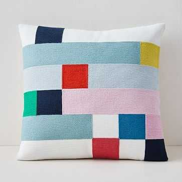 """Margo Selby Mix Squares Pillow Cover, 20""""x20"""", Stone White - West Elm"""