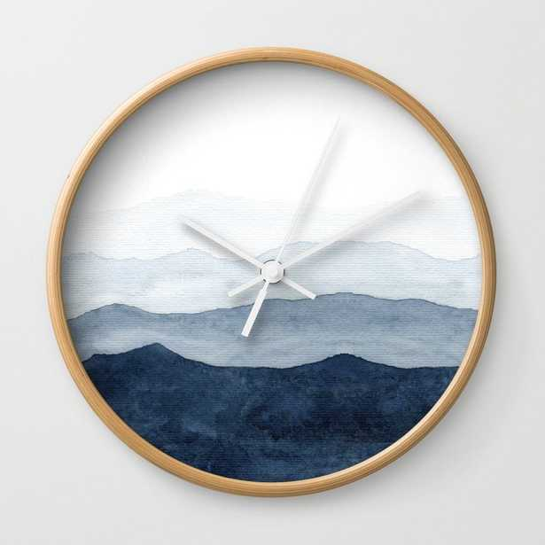 Indigo Abstract Watercolor Mountains Wall Clock - by Ccartstudio - Society6