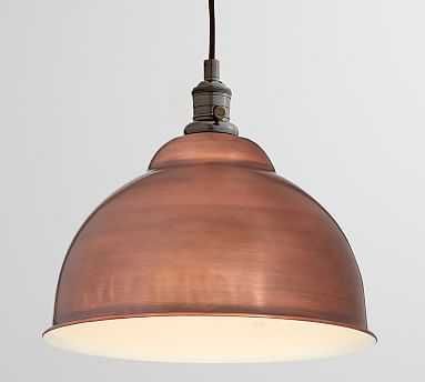 PB Classic Bronze Pendant Hardwire Kit + Bell Shaped Large Shade, Copper - Pottery Barn