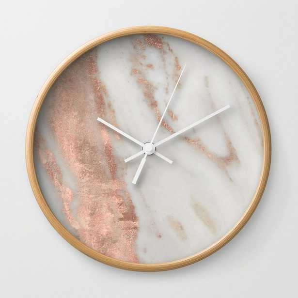 Marble Rose Gold Shimmery Marble Wall Clock - by Naturemagick - Society6