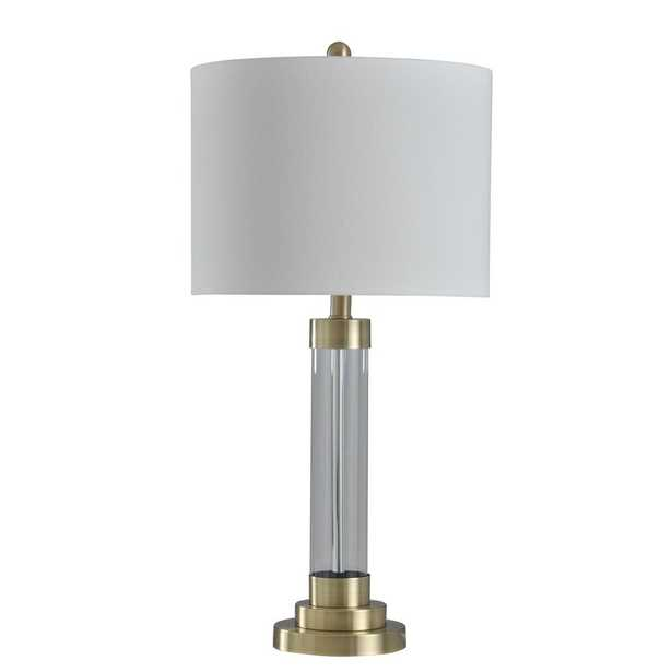 StyleCraft 28 in. Gold Table Lamp with Brussels Off White Hardback Fabric Shade - Home Depot