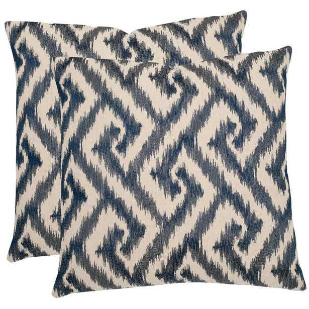 Teddy Geometric Pillow (Set of 2), Blue - Home Depot