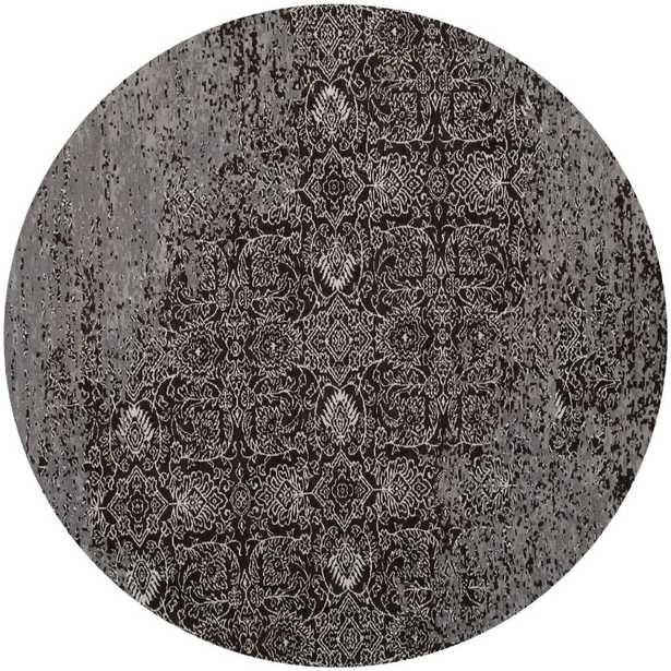 Classic Vintage Silver/Brown 6 ft. x 6 ft. Round Area Rug - Home Depot
