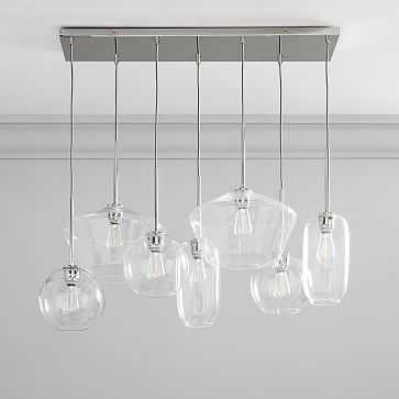 Sculptural Glass 7Lt Linear Mixed Shade Chandelier S Globe/M Pebble/L Geo Clear Nickel Canopy - West Elm