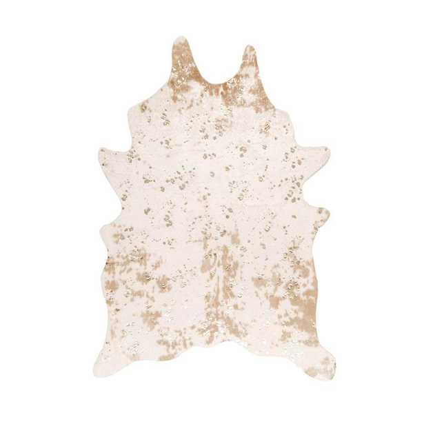 Iraida Faux Cowhide Off-White (Beige) 4 ft. x 5 ft. Area Rug - Home Depot