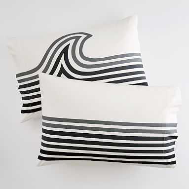 Striped Pillowcases, Set of 2, Gray Multi - Pottery Barn Teen